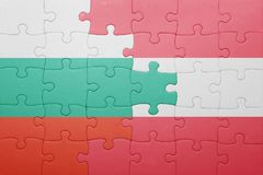puzzle with the national flag of bulgaria and austria Royalty Free Stock Photo