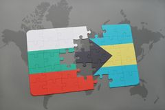 Puzzle with the national flag of bulgaria and bahamas on a world map. Background. 3D illustration Stock Images