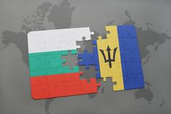 Puzzle with the national flag of bulgaria and barbados on a world map. Background. 3D illustration Royalty Free Stock Photos