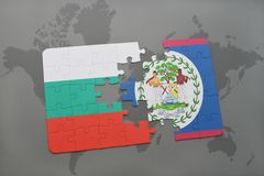 Puzzle with the national flag of bulgaria and belize on a world map. Background. 3D illustration Stock Images