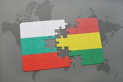 Puzzle with the national flag of bulgaria and bolivia on a world map. Background. 3D illustration Stock Photos