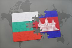 Puzzle with the national flag of bulgaria and cambodia on a world map. Background. 3D illustration Stock Photos