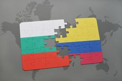 Puzzle with the national flag of bulgaria and colombia on a world map. Background. 3D illustration Stock Photography