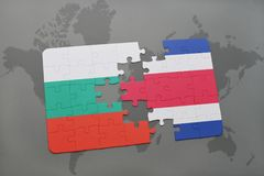 Puzzle with the national flag of bulgaria and costa rica on a world map. Background. 3D illustration Stock Photo