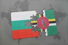 Puzzle with the national flag of bulgaria and dominica on a world map. Background. 3D illustration Stock Photo