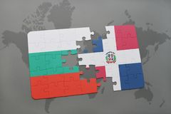 Puzzle with the national flag of bulgaria and dominican republic on a world map. Background. 3D illustration Stock Image