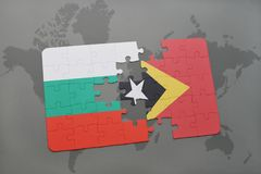 Puzzle with the national flag of bulgaria and east timor on a world map. Background. 3D illustration Stock Photo