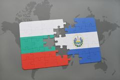Puzzle with the national flag of bulgaria and el salvador on a world map. Background. 3D illustration Royalty Free Stock Photo