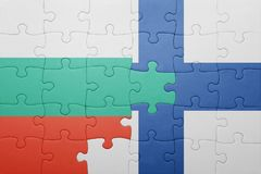 Puzzle with the national flag of bulgaria and finland Stock Images