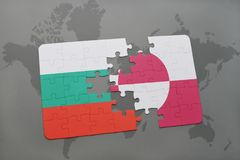 Puzzle with the national flag of bulgaria and greenland on a world map. Background. 3D illustration Stock Photo