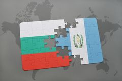 Puzzle with the national flag of bulgaria and guatemala on a world map. Background. 3D illustration Royalty Free Stock Photo