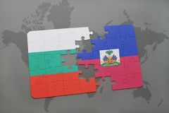 Puzzle with the national flag of bulgaria and haiti on a world map. Background. 3D illustration Royalty Free Stock Photos