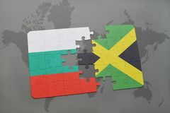Puzzle with the national flag of bulgaria and jamaica on a world map. Background. 3D illustration Royalty Free Stock Images