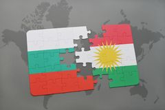 Puzzle with the national flag of bulgaria and kurdistan on a world map. Background. 3D illustration Royalty Free Stock Photography