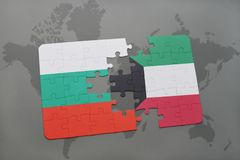 Puzzle with the national flag of bulgaria and kuwait on a world map. Background. 3D illustration Stock Photos