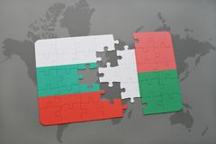 Puzzle with the national flag of bulgaria and madagascar on a world map. Background. 3D illustration Royalty Free Stock Photo