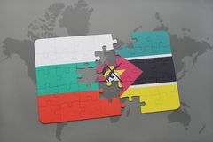 Puzzle with the national flag of bulgaria and mozambique on a world map. Background. 3D illustration Royalty Free Stock Photo