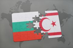 Puzzle with the national flag of bulgaria and northern cyprus on a world map. Background. 3D illustration Stock Photography