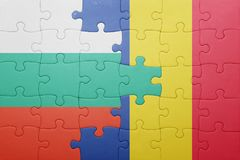 puzzle with the national flag of bulgaria and romania Royalty Free Stock Photography