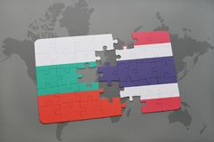 Puzzle with the national flag of bulgaria and thailand on a world map. Background. 3D illustration Royalty Free Stock Image