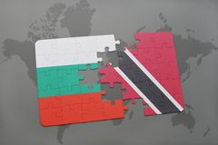 Puzzle with the national flag of bulgaria and trinidad and tobago on a world map. Background. 3D illustration Royalty Free Stock Photo