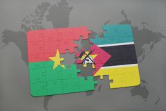 Puzzle with the national flag of burkina faso and mozambique on a world map. Background. 3D illustration Stock Images