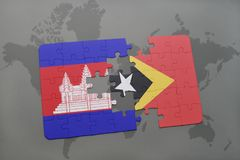 puzzle with the national flag of cambodia and east timor on a world map background. Stock Photography