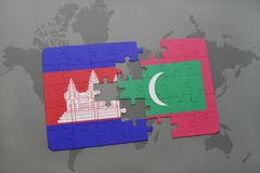 Puzzle with the national flag of cambodia and maldives on a world map background. 3D illustration Stock Photography