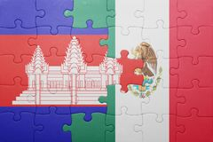 Puzzle with the national flag of cambodia and mexico. Concept royalty free stock image