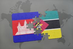 Puzzle with the national flag of cambodia and mozambique on a world map. Background. 3D illustration Royalty Free Stock Images