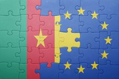 Puzzle with the national flag of cameroon and european union Royalty Free Stock Image
