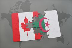 Puzzle with the national flag of canada and algeria on a world map background. 3D illustration Stock Photo