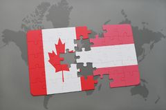 Puzzle with the national flag of canada and austria on a world map background. 3D illustration Stock Images