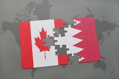 Puzzle with the national flag of canada and bahrain on a world map background. 3D illustration Royalty Free Stock Photo