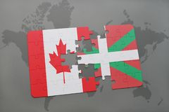 Puzzle with the national flag of canada and basque country on a world map background. 3D illustration Royalty Free Stock Image