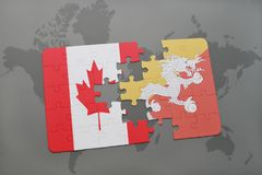 Puzzle with the national flag of canada and bhutan on a world map background. 3D illustration Royalty Free Stock Photography