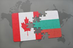 Puzzle with the national flag of canada and bulgaria on a world map background. Stock Images