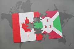 Puzzle with the national flag of canada and burundi on a world map background. Royalty Free Stock Image