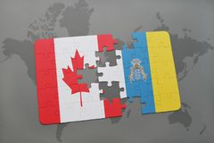 Puzzle with the national flag of canada and canary islands on a world map background. 3D illustration Royalty Free Stock Photography