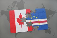 Puzzle with the national flag of canada and cape verde on a world map background. 3D illustration Royalty Free Stock Photos
