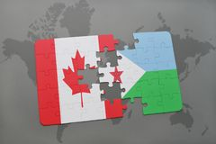 Puzzle with the national flag of canada and djibouti on a world map background. 3D illustration Royalty Free Stock Image