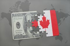 Puzzle with the national flag of canada and dollar banknote on a world map background. 3D illustration Royalty Free Stock Image