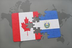 Puzzle with the national flag of canada and el salvador on a world map background. 3D illustration Royalty Free Stock Photo