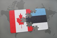 Puzzle with the national flag of canada and estonia on a world map background. 3D illustration Royalty Free Stock Photos