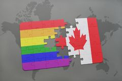 Puzzle with the national flag of canada and gay rainbow flag on a world map background. 3D illustration Stock Photography