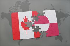 Puzzle with the national flag of canada and greenland on a world map background. 3D illustration Royalty Free Stock Photos