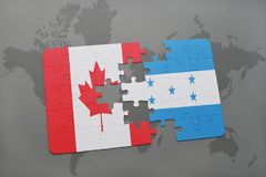 Puzzle with the national flag of canada and honduras on a world map background. 3D illustration Royalty Free Stock Images