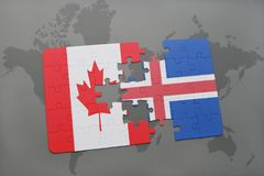 Puzzle with the national flag of canada and iceland on a world map background. Royalty Free Stock Image