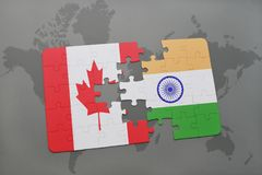Puzzle with the national flag of canada and india on a world map background. 3D illustration stock images
