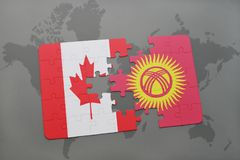 Puzzle with the national flag of canada and kyrgyzstan on a world map background. 3D illustration Royalty Free Stock Photography